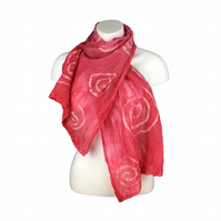 Red nuno felted silk chiffon scarf with spiral pattern