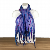 Lightweight nuno felted silk chiffon scarf in blue and purple