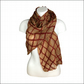 Beige nuno felted silk chiffon scarf with red trellis decoration