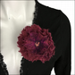 Burgundy flower brooch or corsage, lapel or scarf pin, hand felted