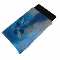 iPad mini case, hand felted in shades of blue
