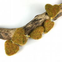 Needle felted hanging hearts, green-orange