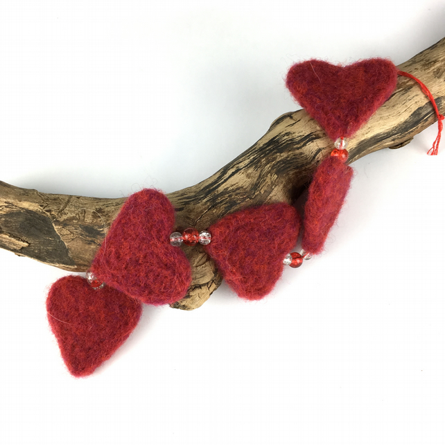 Needle felted hanging hearts , Red
