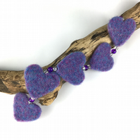 Needle felted hanging hearts , heather