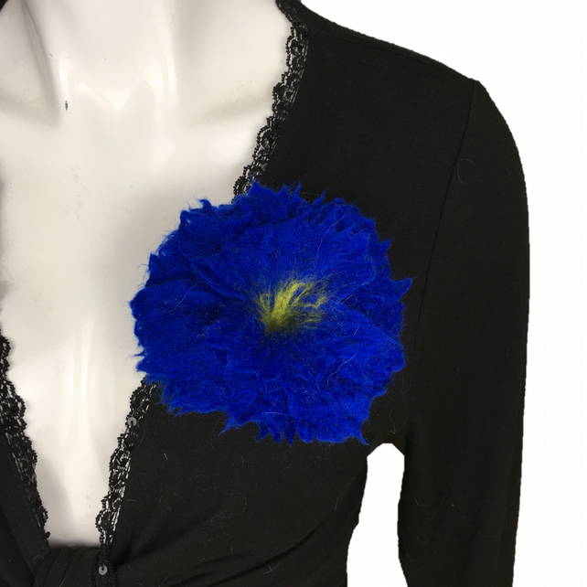 Flower brooch, lapel pin, corsage in royal blue merino wool