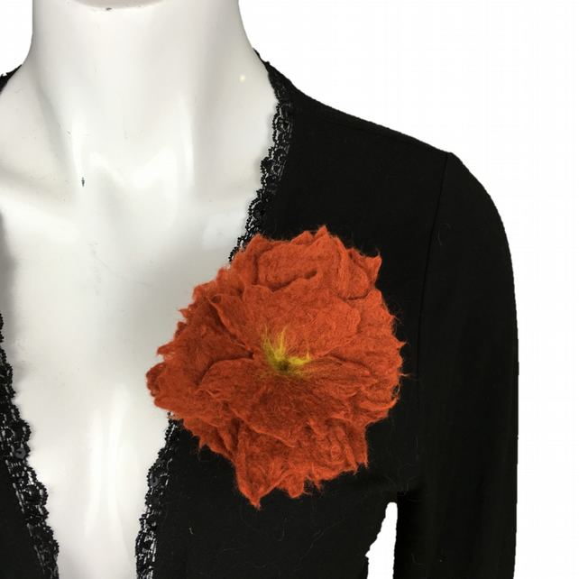 Ochre hand felted merino wool flower brooch, corsage or lapel pin