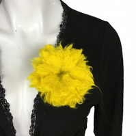 Felted flower brooch, corsage, lapel pin in bright yellow merino wool