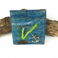 Hand felted needle book, sewing kit - under the sea design