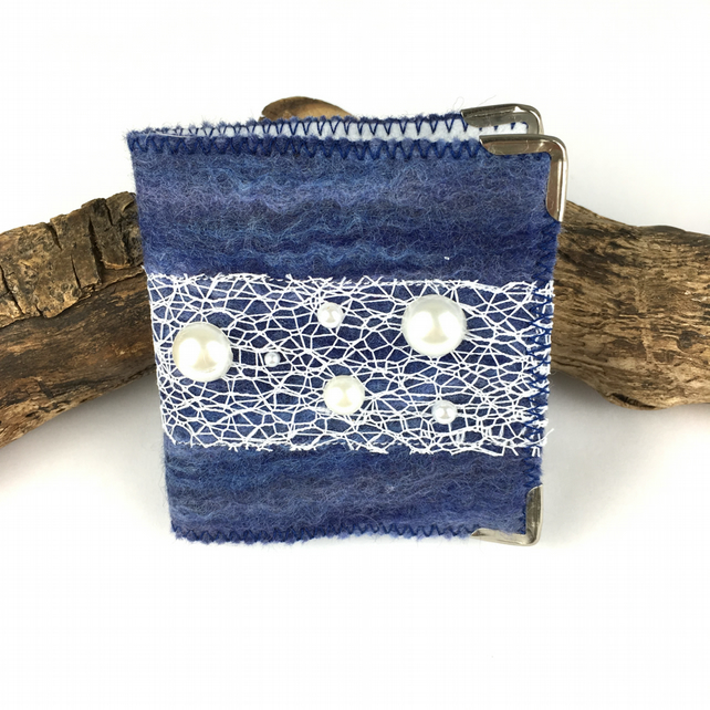 Blue hand felted needle case, book, sewing kit with accessories