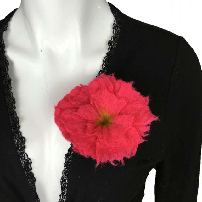 Bright cerise flower brooch, corsage, lapel pin, hand felted