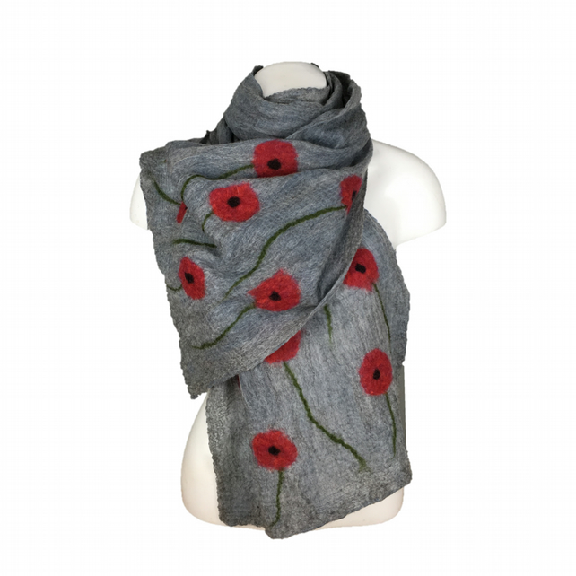Long grey nuno felted scarf with poppy decoration