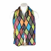 Nuno felted scarf, merino wool with multi coloured silk diamonds, gift boxed