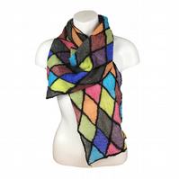 Nuno felted scarf, merino wool with multi coloured silk diamonds