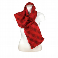 Red woven nuno felted scarf, merino wool and silk