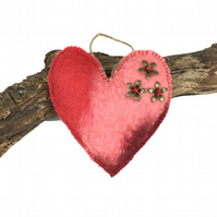 Red padded hand felted heart, lavender scented (1)