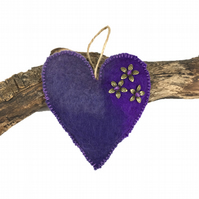 Padded hand felted, lavender scented heart in purple shades  - SALE