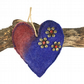Padded hanging felt heart in blue and red merino wool  (1)