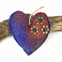Blue and red merino wool felt hanging padded heart (2)