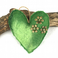 Felted padded hanging heart in shades of green merino wool  (1)