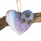 Lilac, blue and grey merino wool felt hanging heart decoration  (1)
