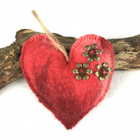 Red merino wool felt hanging padded heart decoration - SALE