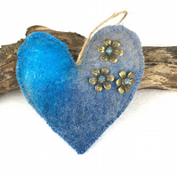Blue and grey hanging padded merino wool felt heart  - SALE