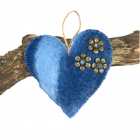 Felted, padded heart in blue shades of merino wool - SALE