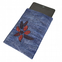 iPad mini case, hand felted in blue with floral design