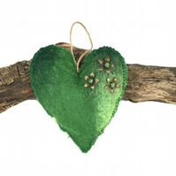 Green lavender scented padded hand felted hanging heart - SALE