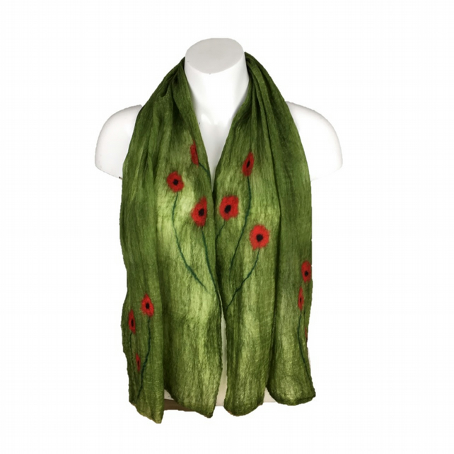 Lightweight nuno felted green scarf with poppies, gift boxed
