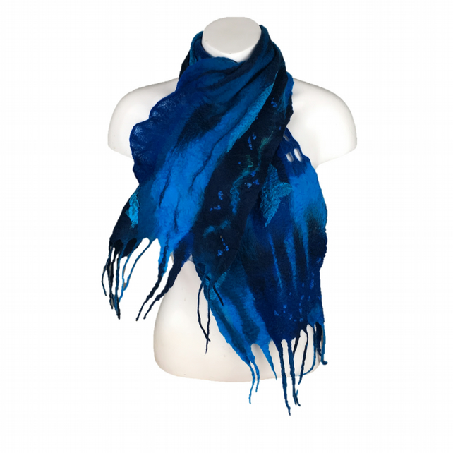 Wet felted merino wool scarf in shades of blue, gift boxed