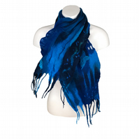 Wet felted merino wool scarf in shades of blue
