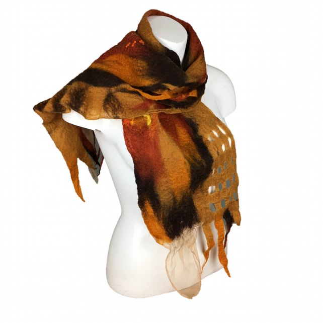 Merino wool wet felted scarf in brown shades