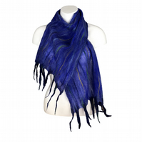 Lightweight nuno felted blue scarf with tassels