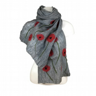Long grey nuno felted scarf with poppy decoration, gift boxed