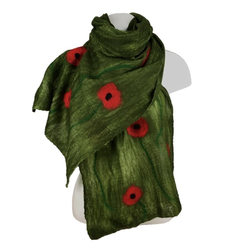 Nuno felted long merino wool on silk scarf green with poppy decoration, gift box