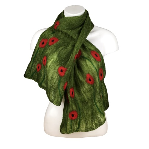 Lightweight green poppy scarf, nuno felted merino wool on silk, gift boxed