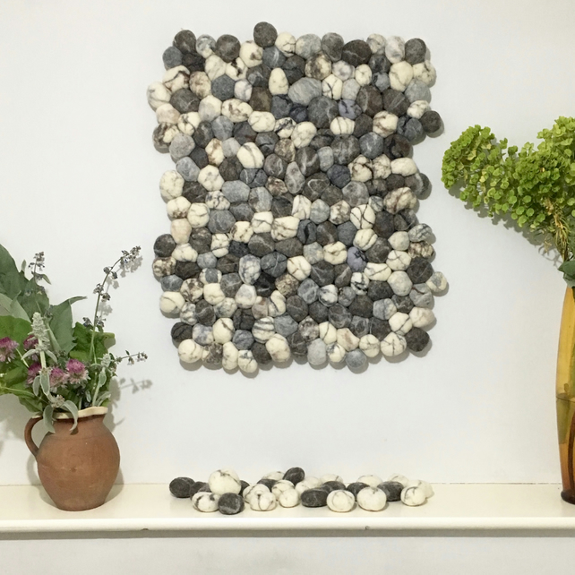 Felted pebble wall hanging (60cm x 70cm approx)