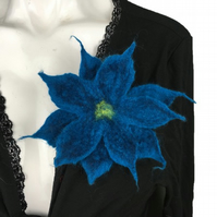 Corsage, brooch, wet felted merino wool flower in dark blue, lapel pin