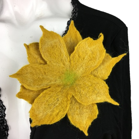 Yellow wet felted merino wool flower corsage, brooch, lapel pin