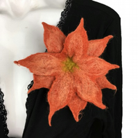 Terracotta wet felted flower brooch, corsage, lapel pin in merino wool