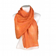 Nuno felted scarf, merino wool on silk chiffon in orange (1)