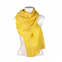 Nuno felted scarf in yellow merino wool and silk fibres on silk chiffon (1)