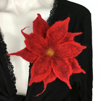 Red hand felted merino wool double layer flower brooch, corsage or lapel pin