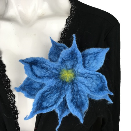 Pale blue wet felted flower corsage, brooch, lapel pin, scarf pin