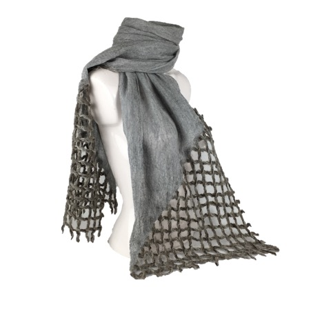 Long grey nuno felt and lattice scarf