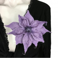 Lilac flower corsage, wet felted brooch, lapel pin, scarf pin