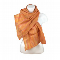 Nuno felted merino wool and silk scarf, in shades of pink,yellow and orange