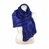 Blue merino wool on silk nuno felted scarf