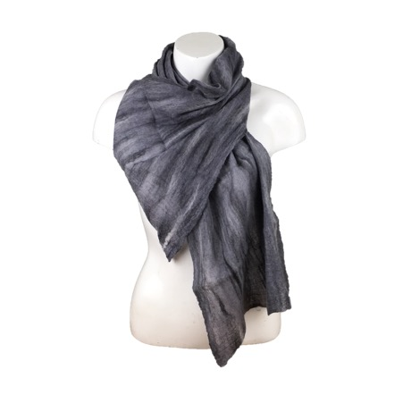 Merino wool on silk nuno felted scarf in black and white, monochrome